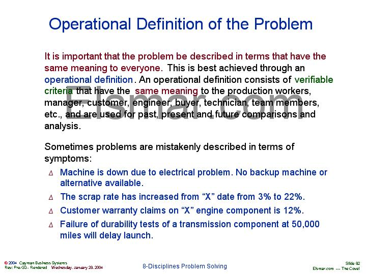 operational definition The last definition is indeed an operational definition, if it implies a set of measurement operations (look at left thumb, count hairs) however, it is a stupid definition if a person wants to measure intelligence.