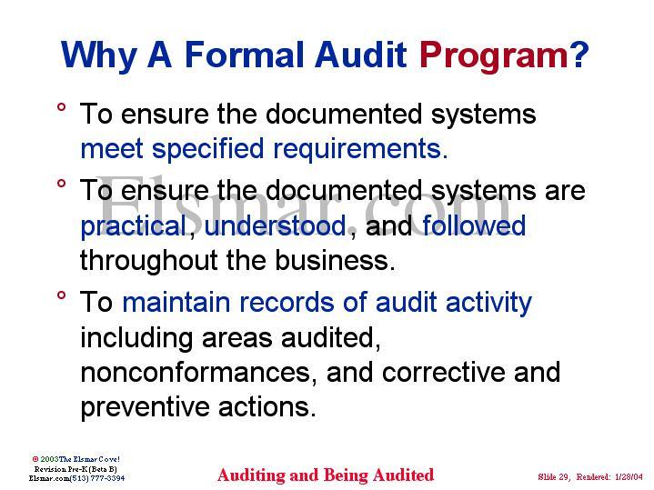 Why A Formal Audit Program