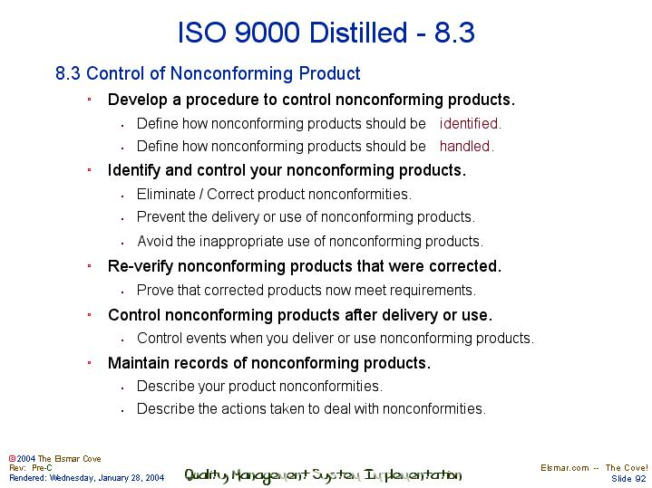 nonconforming product procedure Control of nonconforming product seller shall document and process nonconforming goods as described below and in accordance with seller's quality system procedures in the event of a conflict or inconsistency between this requirement and other control of nonconforming product.