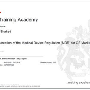 Nissim Shaked certifed by BSI for implementation of the new MDR (EU-745-2017)