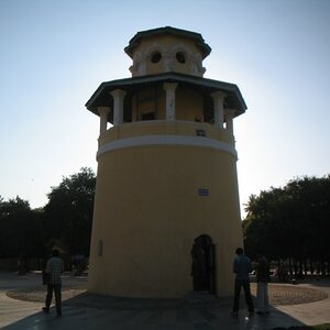 View of the Jail tower with the sun setting behind it