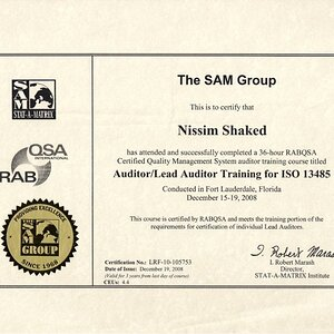 Nissim Shaked- ISO13485 Lead Auditor certification